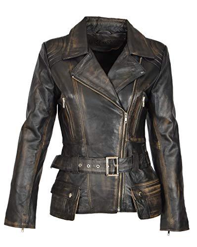 A1 FASHION GOODS Damen Biker Lederjacke SCHWARZ Vintage Abreiben Slim Fit Taille Gürtel Mantel - Coco (XL - EU 42)