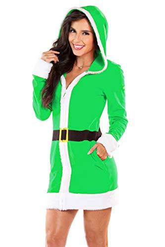 Tipsy Elves Women's Little Helper Fleece Cozy Dress - Elf Christmas Sweater Dress: XXL Green