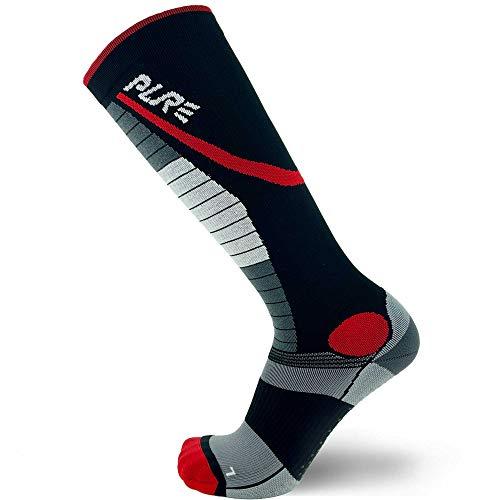 Pure Athlete Gewichthebersocken, Schienbeinschoner, Kreuzhebe-Schutz, Kompressionssocke für Crossfit und Gewichtheben - Schwarz - Large