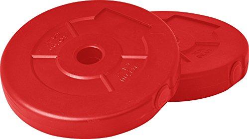 【2個セット】FIELDOOR ダンベル 10kg×2(20kg)/20kg×2(40kg) ポリエチレン製 標準シャフト径28mm ジョイントシャフトで連結可能 (【R】別売2.5kgプレート×2セット(レッド))