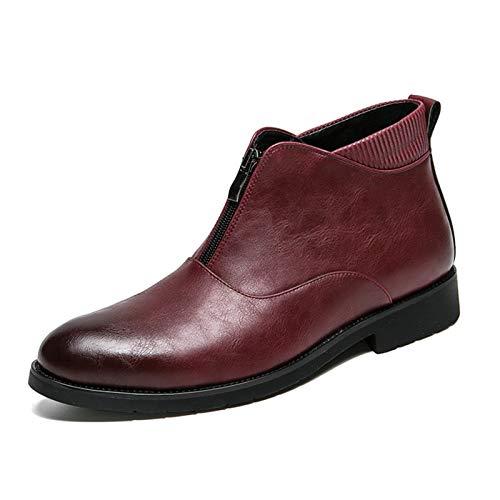 Zapatos cómodos Botas nuevas para los hombres con la cremallera frontal de punta redonda de la cremallera en la parte superior superior Bloque de grifo del tacón Patchwork Patchwork Cuello de tejido C