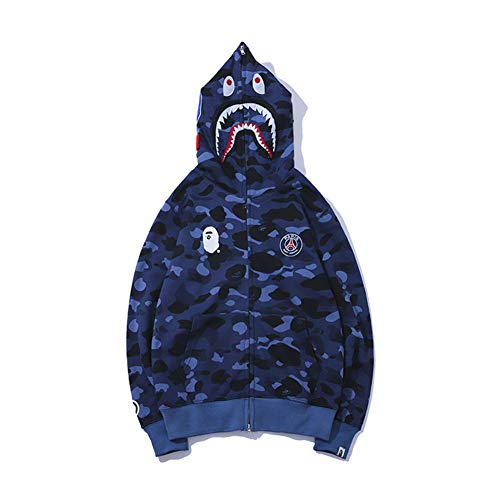 yur67 Bape Shark Red Vertical Printed Hoodie Couple Pullover Sweater for Men/Women