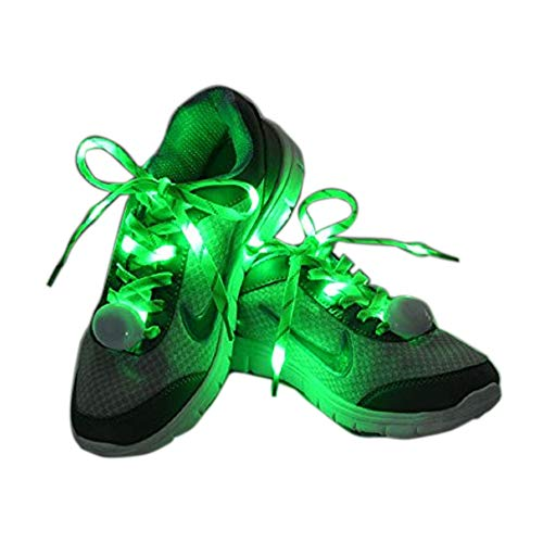 Flammi LED Nylon Shoelaces Light Up Glow in The Dark for Party Dancing Skating (Green)