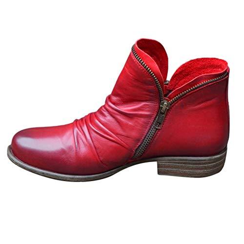 Dasongff Damen Stiefeletten Ankle Boots mit Absatz Falten PU Chelsea Booties Modisch Ankle Boots Schuhe Runder Stiefel Damenstiefel Reißverschluss Kurzstiefel (rot, 40)