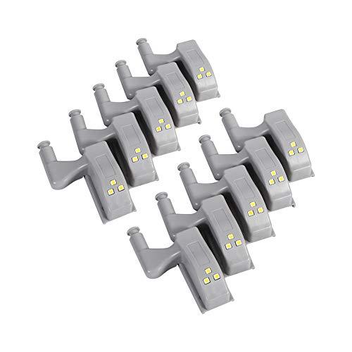 Zerodis 10 Stücke LED Schrankleuchten Universal Kleiderschrank LED Scharnier Sensor Licht Küche Nachtlicht für Schrank Kleiderschrank (Kaltweiß)