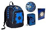Mochila escolar del F.C. Inter de color negro y azul, redonda, nueva colección Seven + estuche de 3 cremalleras completo Destiny + Diario 2021/2022 + regalo balón y llavero de fútbol