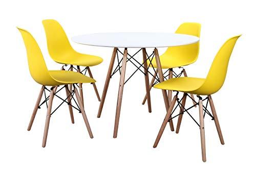 Noorsk Design Conjunto formado por Mesa Karelia2 100 + 4 sillas Tower (Sillas Amarillas)