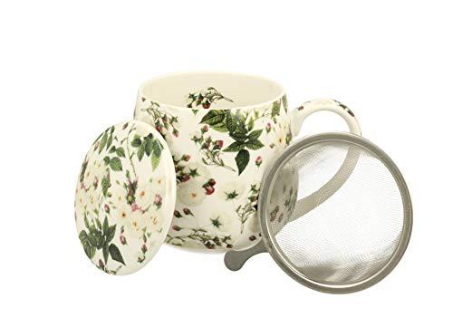 Duo Tee-Tasse Teebecher Set mit Teesieb Edelstahl und Deckel Porzellan Teetasse bauchig mit Sieb Geschenk-Tasse Cup with Tea Infuser 400 ml 3teilig in Geschenkbox Becher Kräuter-Teetasse (Wild Rose)