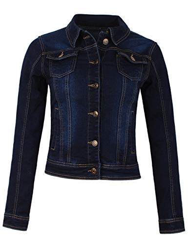 Fraternel Damen Jacke Jeansjacke Denim Jacket talliert Stretch Dunkelblau M / 38