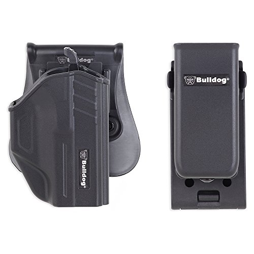Bulldog Cases Thumb Release Holster Includes Universal Magazine Holder with Belt Clip Fits Taurus Millennium G2, Black
