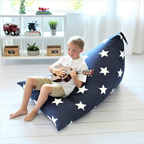 Butterfly Craze Bean Bag Chair Cover (Stuffing Not Included) – Toddler Toy Organizer – Fill with Stuffed Animals to Create a Jumbo, Comfy Floor Lounger for Boy's or Girl's Bedroom – Navy with Stars