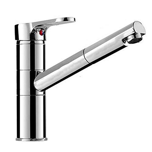 Grifo de cocina giratorio a 150°, con dos funciones, para ducha, monomando, cromo, latón