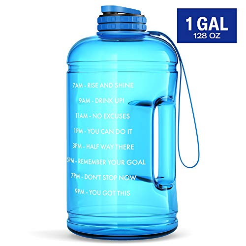1 Gallon Motivational Water Bottle with Time Marker & Hourly Hydration Measurements – BPA Free & Non Toxic Large Sports...