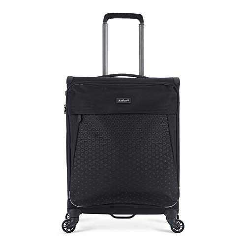 Antler Oxygen, Durable & Lightweight Soft Shell Suitcase - Colour: Black, Size: Cabin