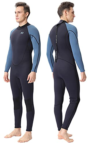 DEHAI Wetsuit Men Women 3mm Neoprene and 2mm Full Body Long Shorty Sleeve Wet Suit Suitable Teen Adult Youth Ladies Male Diving Swimming Scuba Surfing Keep Warm Back Zip Water Sports Swimsuit (M)