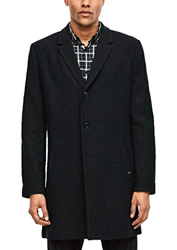 s.Oliver BLACK LABEL Herren 12.910.52.3309 Mantel, Schwarz (Black Melange 99w1), Medium (Herstellergröße: 48)