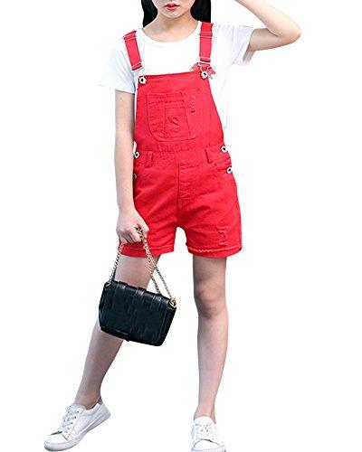 ZiXing ZiXing Latzhose Kinder Mädchen Kurze Hosen Shorts Bermuda Sommerhose Overall Einteiler Jumpsuit Rot S