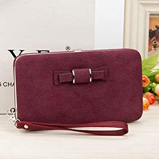 Generic Bokinslon Woman Wallet Long Section PU Leather Bowknot Girls Brand Purse Popular Practical Ladies Hand Wallet Colo...