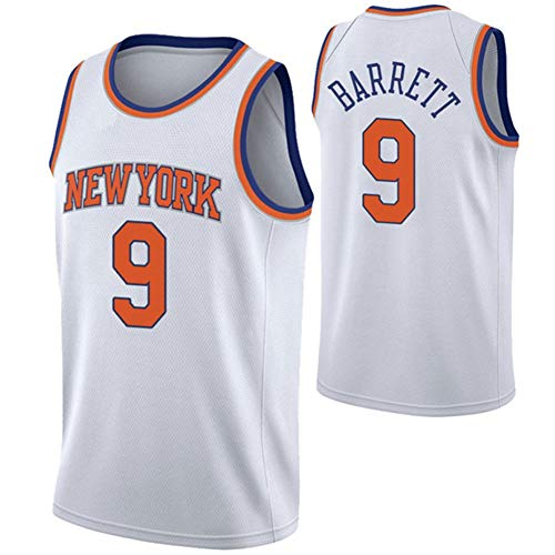 Herren Basketball Shirt/New York Knicks 9# RJ Barrett Trikots Retro Atmungsaktiver Basketball Fan Swingman Jersey Tops Herren/Damen T-Shirt Top Bestes Geburtstagsgeschenk (Größe S-XXL)-White-L