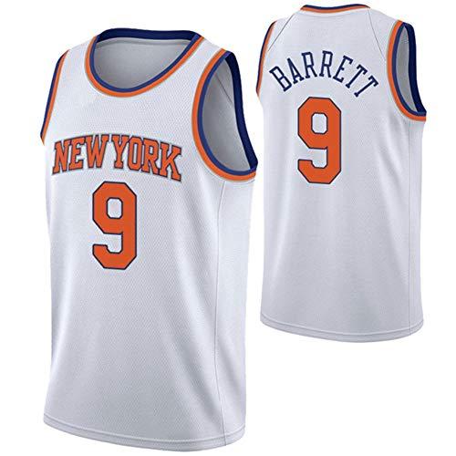 Herren Basketball Shirt/New York Knicks 9# RJ Barrett Trikots Retro Atmungsaktiver Basketball Fan Swingman Jersey Tops Herren/Damen T-Shirt Top Bestes Geburtstagsgeschenk (Größe S-XXL)-White-S