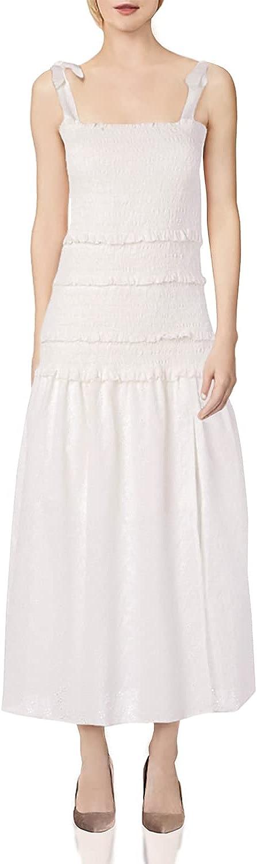 ASTR the label Women's Sleeveless Smocked Body Side Slit Tess Midi Dress