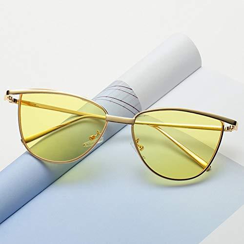 Taiyangcheng Cat Eye Red Sonnenbrillen Damen Vintage Shades Getönte Farbe Linse Frauen Eyewear,Gelb