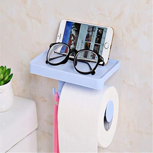 Kleurrijke Badkamer Opslag Multifunctionele Weefseldozen Mobiele Telefoon Opslag Plank Rack Roll Toiletpapier Opslag Houder Organizer, blauw