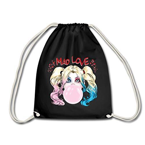 Spreadshirt Harley Quinn Mad Love Bubblegum Turnbeutel, Schwarz
