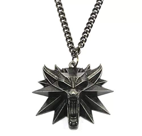 The Witcher 3 - Collar con colgante de medallón del Mago Wolf Hunt 2016, incluye 1 bolsa, 1 etiqueta