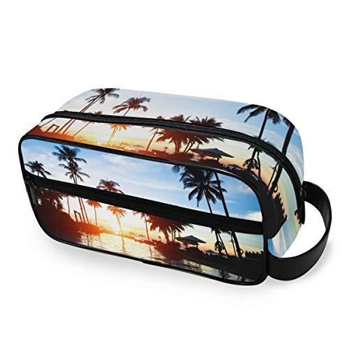 Tropical Sunrise Landscape Storage Tools Cosmetic Train Case Travel Purse Portable Toiletry Pouch Makeup Bag