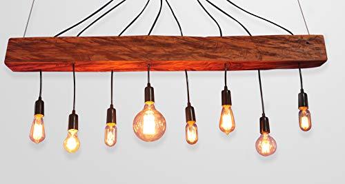 Luminaria Aranha de madeira macica soquete em ceramica acabamento em metal preto / 8 E27