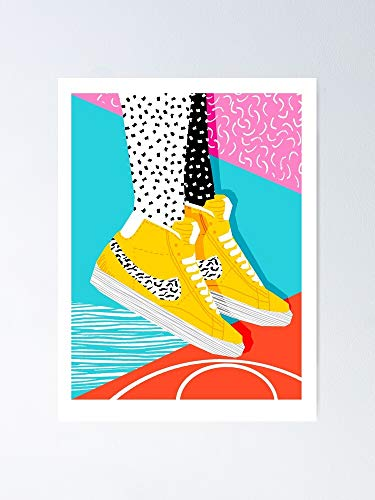 """Kid You Not - Memphis Retro Shoes Fashion Throwback 80s Style Trends Minimalist Art Neon 12.75"""" X 17"""" Inch Poster No Frame Board for Office Decor, Best Gift Dad Mom Grandmother and Your Friends"""