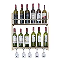 2-in1 Designsフローティングワインボトルシェルフとグラスラック(壁掛け)、メタルワインシャンパングラスゴブレットステムウェアラックホルダー-ゴールド