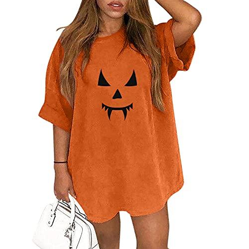 Camiseta de Manga Corta de Halloween para Mujer, Retro Blusa Camisa Sueltos de Talla Grande Sudadera Suelto Talla Grande Estampado de Emoji de Calabaza Casual Pullover Tops Jersey (A03, XL)
