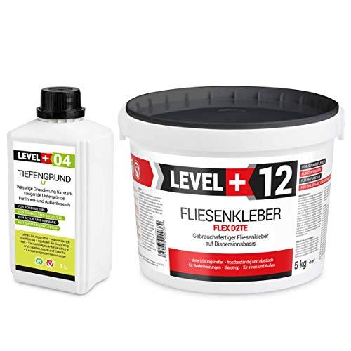Set 5Kg Weiß Fertig Fliesenkleber Flexkleber + 1L Tiefengrund LF, LEVEL+ SET205