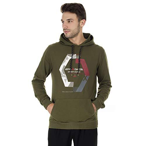 BURATTI - Sudadera con capucha para hombre, con bolsillo tipo canguro verde XL
