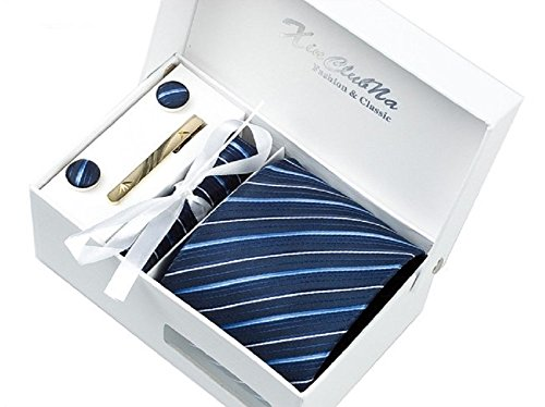 S.R HOME Coffret Cadeau Ensemble Cravate homme, Mouchoir de poche, épingle et boutons de manchette Rayures Bleues