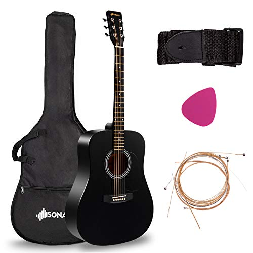 Sonart 41'' Full Size Beginner Acoustic Guitar, Professional Customization Smooth Mirror Structure Steel String W/Case, Shoulder Strap, Pick, Extra Strings for Kids, Starters, Black