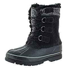 The Selkirk by Revelstoke is inspired by the great outdoors & harsh winter weather Boot features faux suede upper with heathered wool stripe or solid black detail at top of boots Toe is made of waterproof rubber material (however faux suede shaft is ...