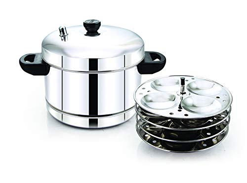Tallboy Induction Compatible Stainless Steel Idli Cooker, 4 Plates, 16 Idlis