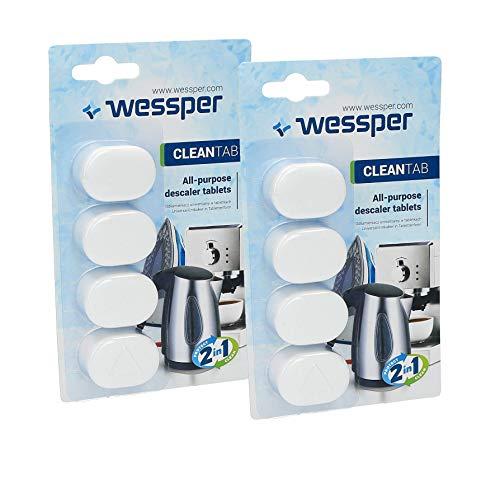 Wessper Pastillas de descalcificación - 8 x 14g Tabletas para máquina de café, Compatible con marcas Delonghi, Dolce Gusto, Nespresso, Seaco, Krups, Senseo