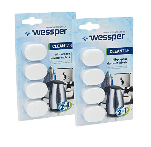 Wessper Decalcificatore macchine caffe 8x pastiglie 14 grammo - per caffè espresso automatica e bollitore elettrico, compatibili con marchi delonghi saeco lavazza nespresso dolce gusto