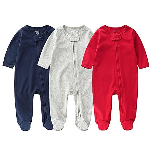 Bebé Pelele de Algodón 3 Piezas Pijama Mameluco Manga Larga Niños Niñas Monos con Footies Ropa de Dormir Conjunto de Trajes 1-3 Meses
