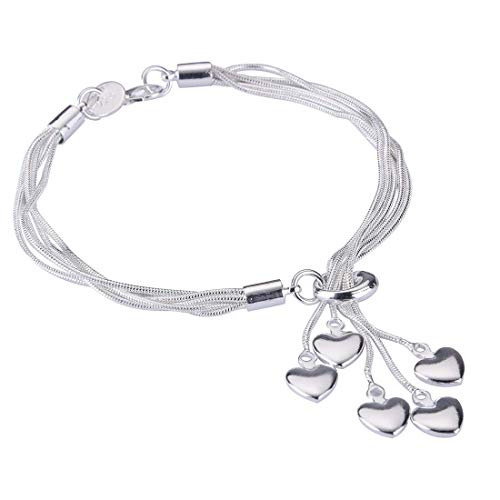 """SOSUO Women Girl Link Bracelet,Silver Five-line Chain with Five-Heart Bracelet(8.3"""")"""