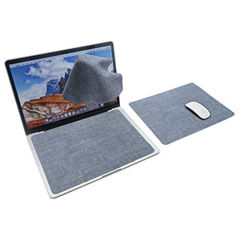 SenseAGE Pantalla Protección de teclado Forro de microfibra y paños de limpieza, Protección de impresión de teclado 3 en 1, Alfombrilla de ratón multifuncional, Gris Claro
