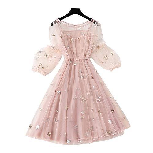 YM YOUMU Women Metallic Shiny Sea Star Pattern Chiffon Tulle A-Line Dress with Slip Dress (Pink, Medium)
