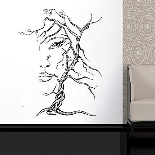 Mädchen Natur Künstler Einrichtungsgegenstände Haushaltswaren Baum Frau Gesicht Wandtattoo Vinyl Aufkleber Fenster Salon Dekoration LR70 Schwarz L 57x74cm