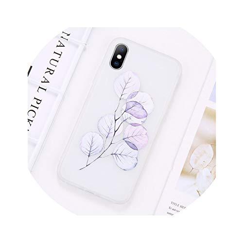 Funda para iPhone Xs Max Xr X6 6S 7 7 8 Plus Teléfono Suave TPU Trasera Bolsa Flor Hermosa SemiTransparente