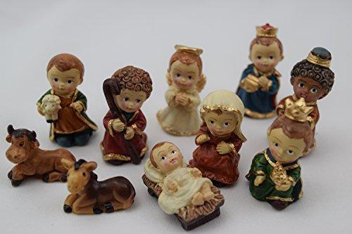Figuras de belén para niños be4to©, pack de figuras de belén en miniatura, 10 piezas, pequeñas figuras pintadas a mano de manera artesanal