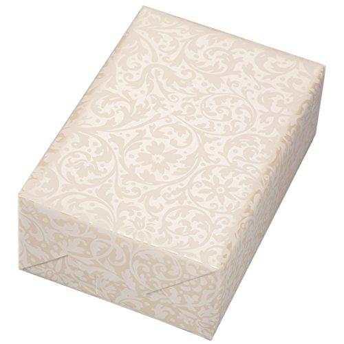 Geschenkpapier Rolle 50 cm x 50 m, Motiv Brokat beige, ornamentales Geschenkpapier in mattem weiß, auf Perlglanz crème veredeltem Fond. Für Geburtstag, Hochzeiten, Weihnachten. Weihnachtsgeschenkpapie